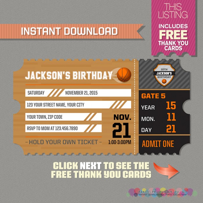 Basketball Ticket Invitation with FREE Thank you Card - ticket invitation