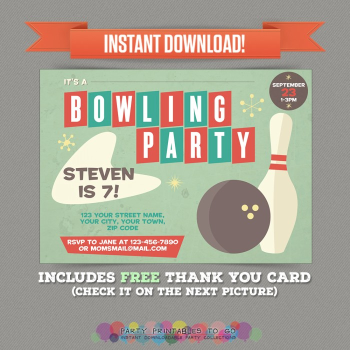 Vintage Bowling Birthday Party Printable Invitation with FREE Thank