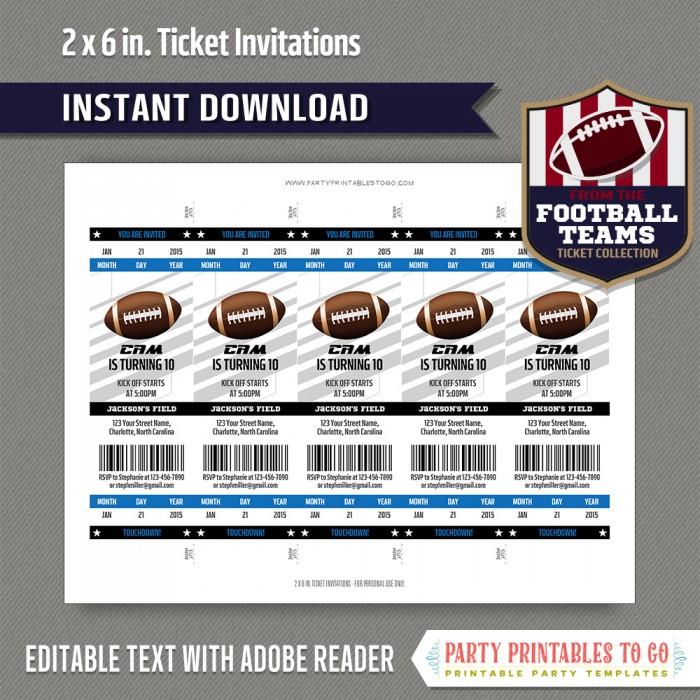 Carolina Panthers Football Ticket Invitation Template (Blue and