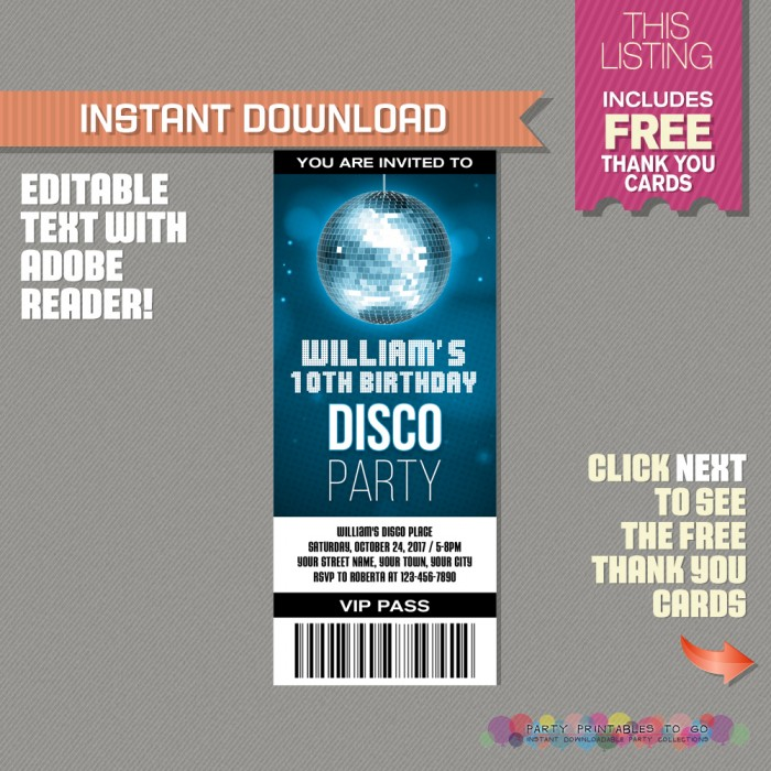 Disco Party Ticket Invitation with FREE Thank you Card! (Blue