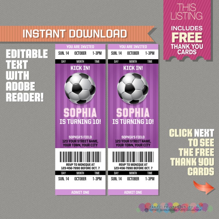 Girl Soccer Party Ticket Invitation with FREE Thank you Card
