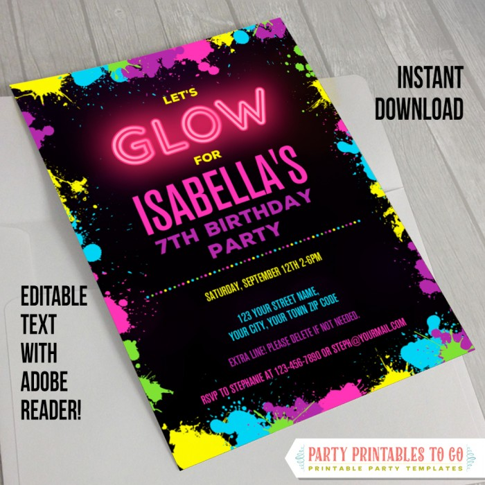 Neon Glow Party Invitation - INSTANT DOWLOAD - Glow in the Dark