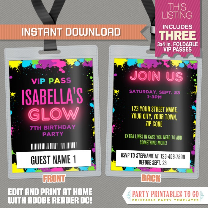 Neon Glow Party VIP Pass Invitations - Neon Glow Party Vip Pass