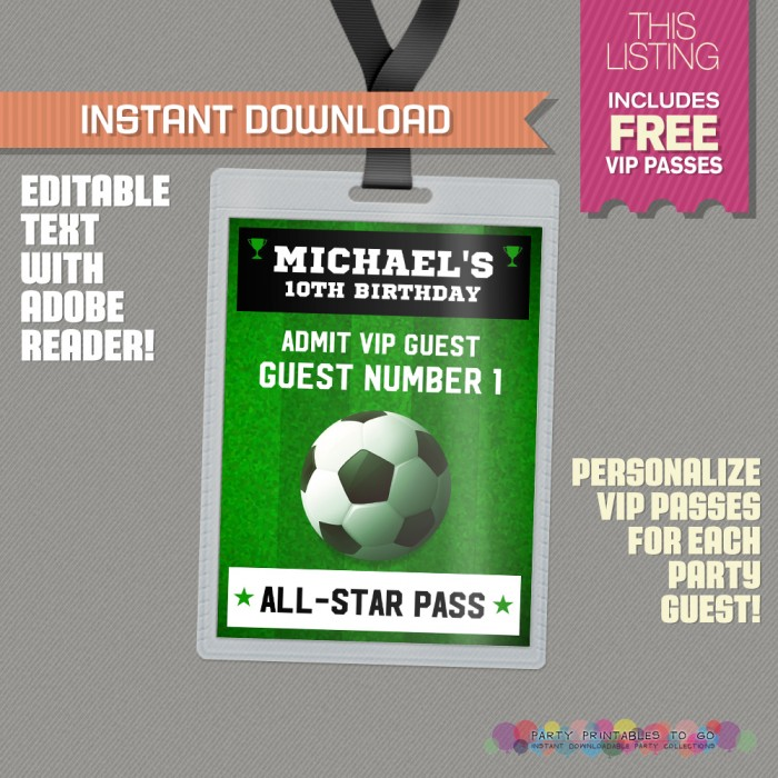 Soccer Ticket Invitation with FREE VIP Passes! (Design 2) - Soccer