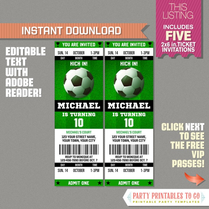 Soccer Ticket Invitation with FREE VIP Passes! (Design 2) - Soccer - party ticket invitations