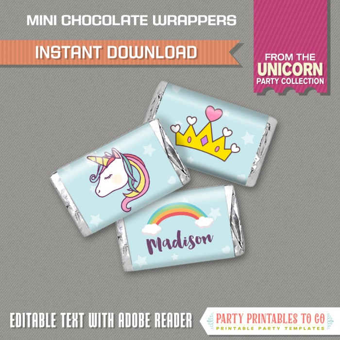 Unicorn Party Mini Hershey Wrappers - INSTANT DOWNLOAD - Unicorn