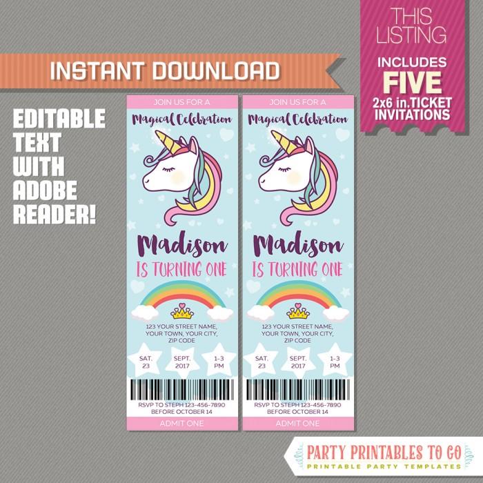 Unicorn Party Ticket Invitation - Unicorn Birthday - INSTANT