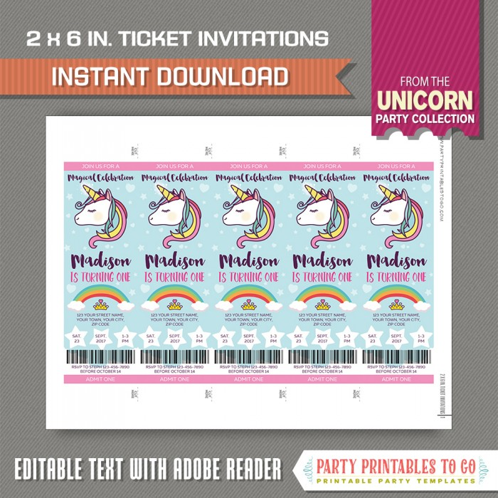 Unicorn Party Ticket Invitation - Unicorn Birthday - INSTANT - party ticket invitations