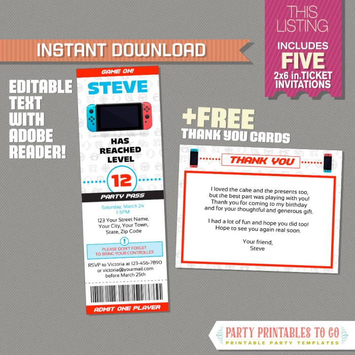 Video Game Ticket Invitation with FREE Thank you Card! (Red) - Video