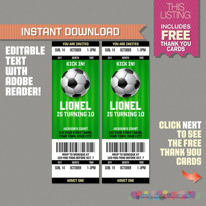 Soccer Ticket Invitation with FREE Thank you Card! - Soccer Birthday