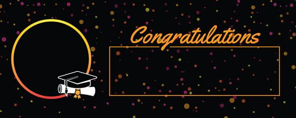 Congratulations Graduation Black With Coloured Dots Design Small