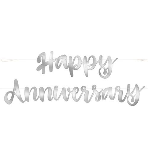 Silver Script Happy Anniversary Foil Cardboard Letter Banner 182cm