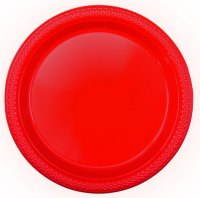 """7"""" Apple Red Plastic Plates 
