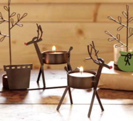 Fall Wooden Wallpaper Red Nosed Reindeer Tealights Christmas Winter Holiday