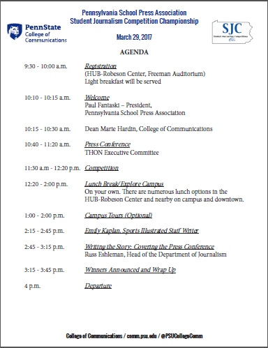Student Journalism Competition Championship Agenda - Pennsylvania - school agenda