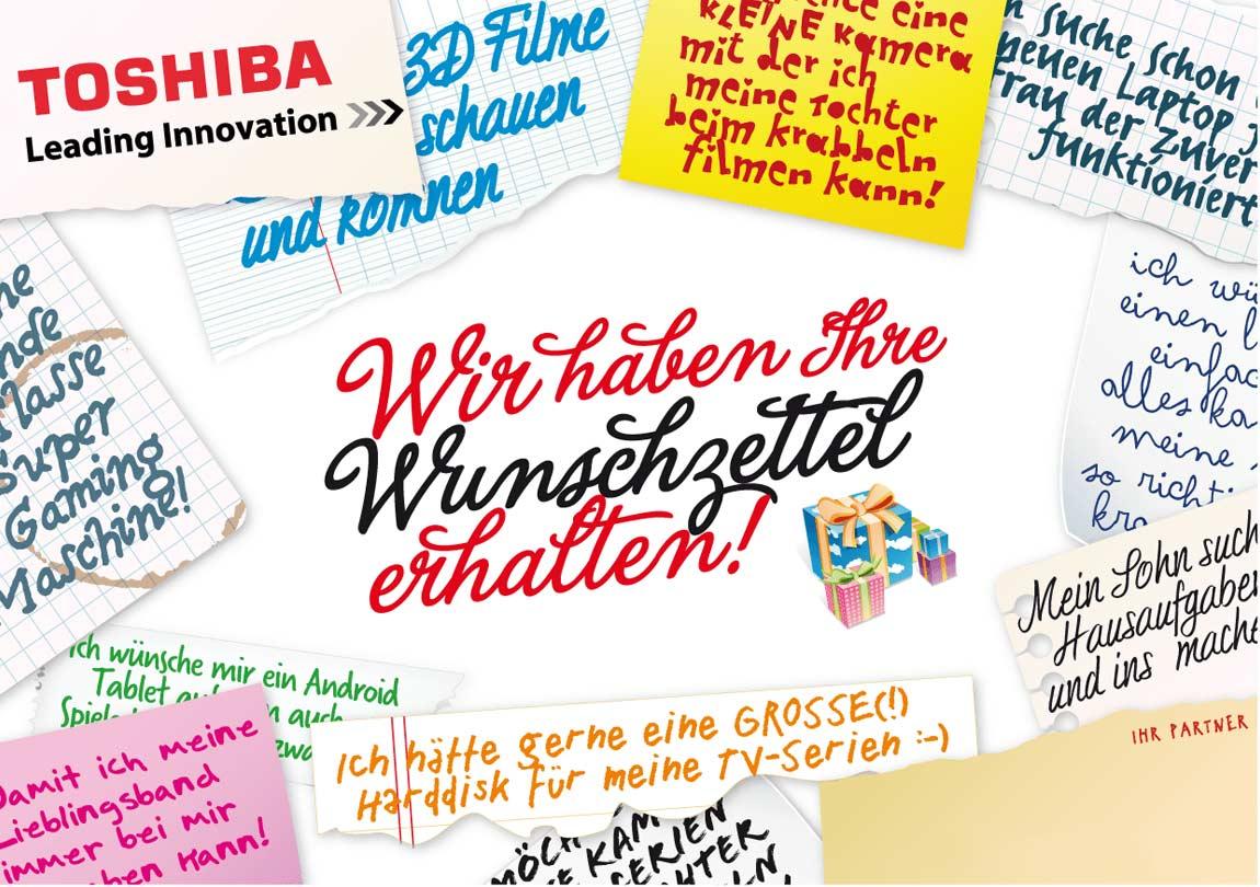 Toshiba Weihnachten Titelseite Wunschzettel