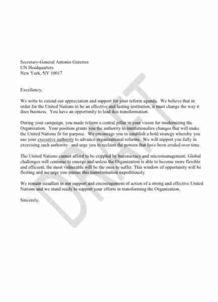 US Pressures UN Chief to Take the Executive Reins PassBlue - delegation letter