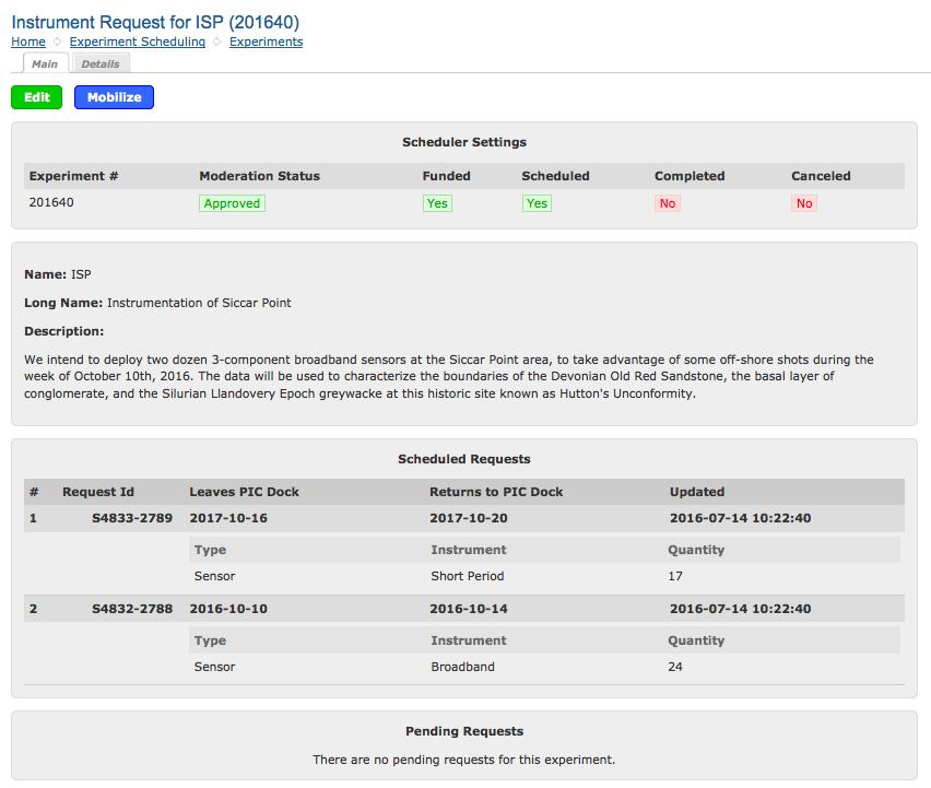 Tutorial on PASSCAL\u0027s New Instrument Request Form and PI Home Page