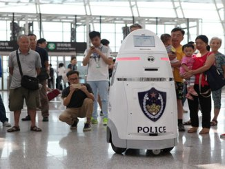 Robot starts work at Shenzhen security