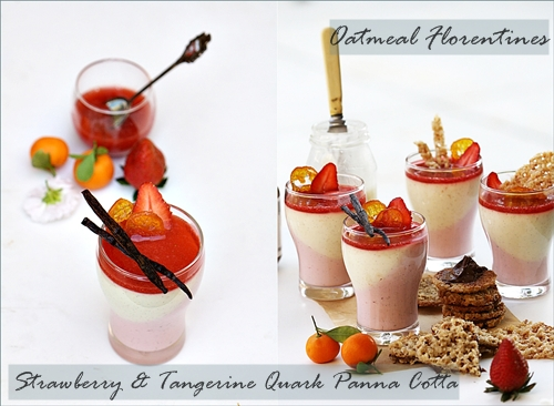 Strawberry & Tangerine Quark Panna Cotta with Oatmeal Florentines