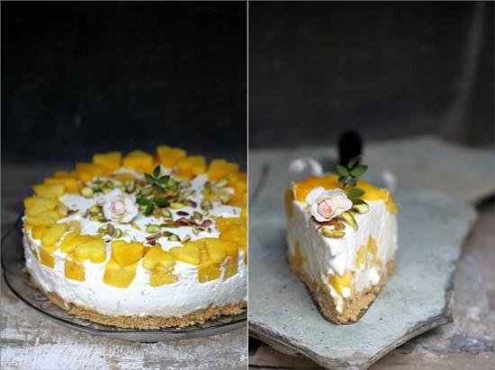 Upside Down Mango Quark Cheesecake Pie