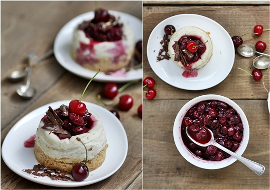 Mini Quark Vanilla Cheesecakes with Balsamic Cherry Sauce