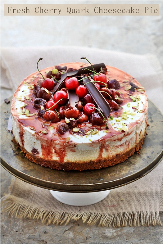 Fresh Cherry Quark Cheesecake Pie