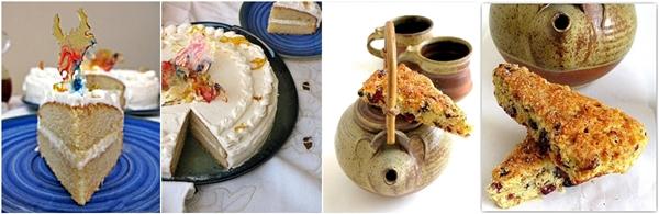 Caramel cake and scones
