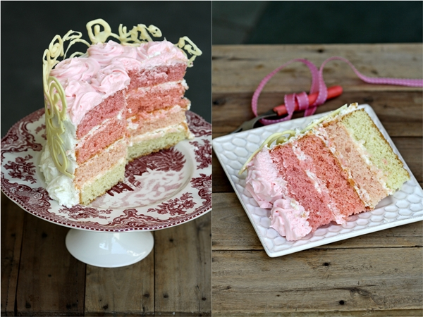 Ombre ... Almond Layered Cream Cake 2