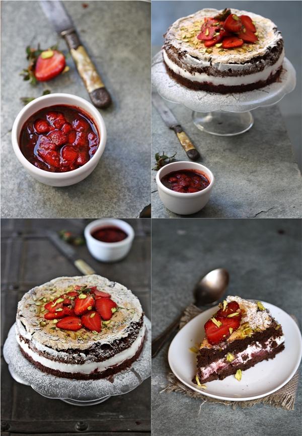 Dark Chocolate Strawberry Mascarpone Gateau 4