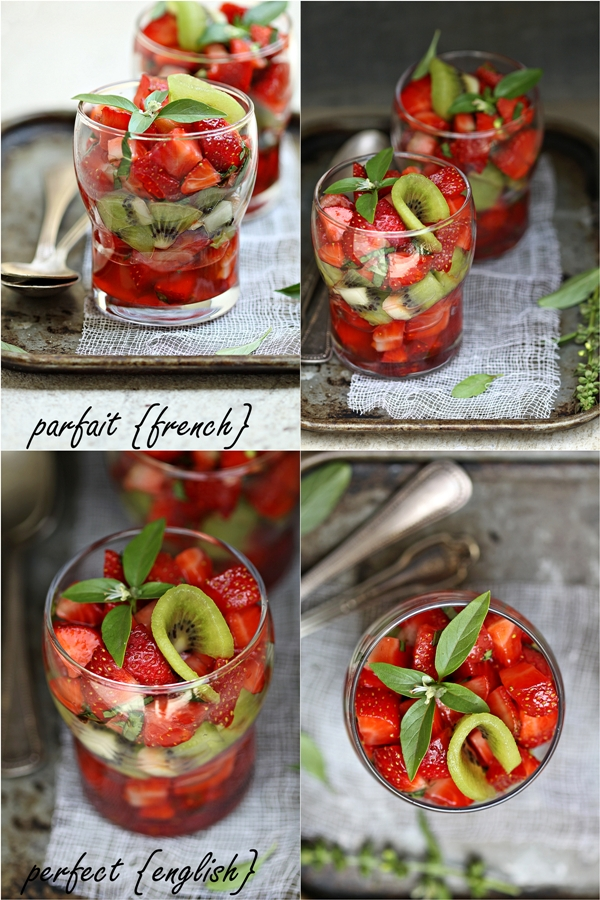 Strawberry, Kiwi, Basil Parfaits