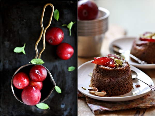 Petite Whole Wheat Plum Cakes