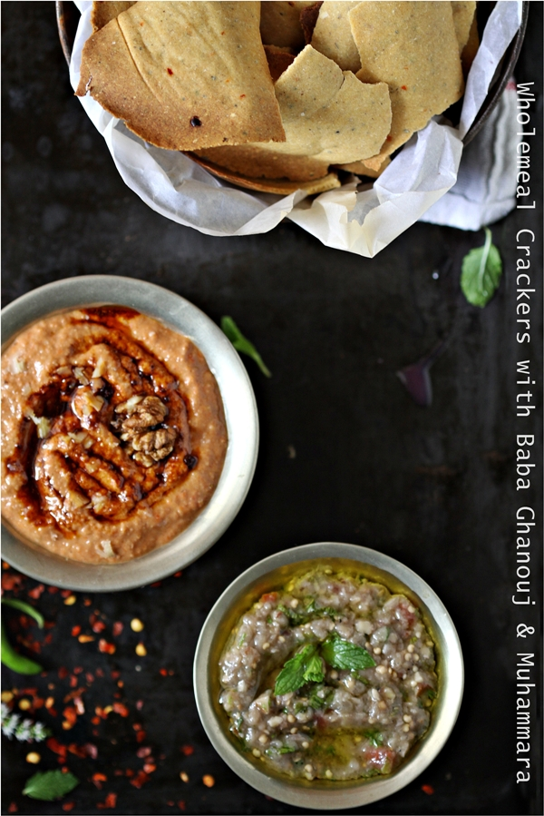 Wholemeal Crackers with Baba Ghanouj & Muhammara