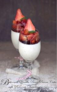 Buttermilk Vanilla Bean Panna Cotta with Balsamic Strawberries