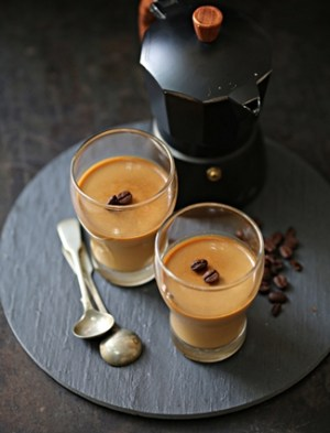 Coffee white chocolate panna cotta