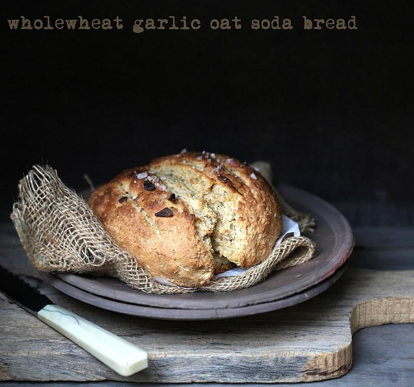 Wholewheat Garlic Oat Soda Bread 1