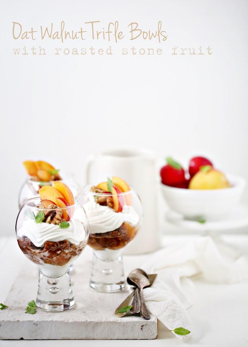 Oat Walnut Trifle Bowls with Roasted Stone Fruit