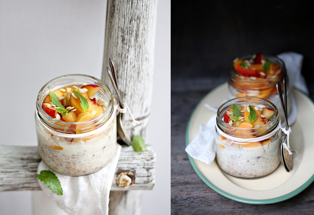 Overnight Thandai Oats with peaches and plums
