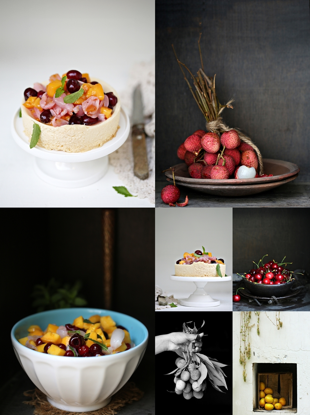 Eggless cheesecake with summer stone fruit