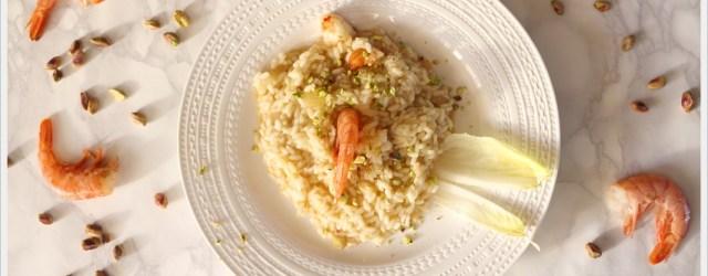 ricetta risotto con indivia e gamberi e pistacchio