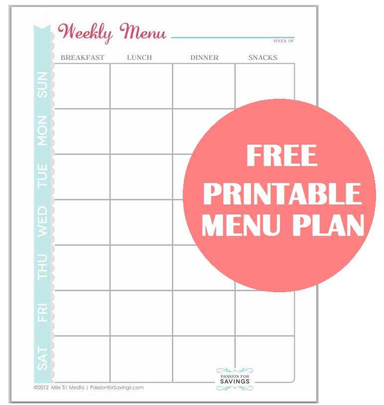 Free Printable Menu Plan Worksheet! - Passion for Savings