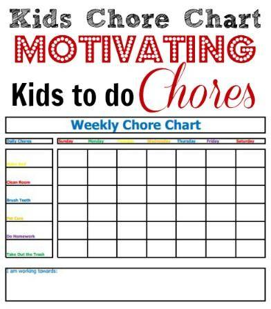 Kids Chore Chart Motivate Kids to Help Out! - sample chore chart