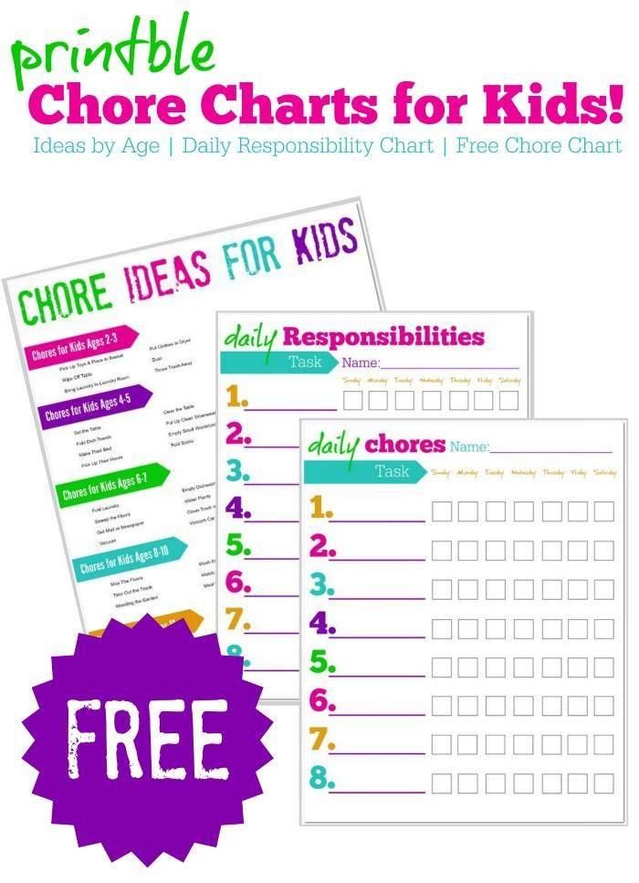 FREE Printable Chore Charts for Kids + Ideas by Age - sample chore chart