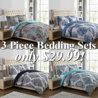 3 Piece Bedding Sets up to King Size just $29.99!