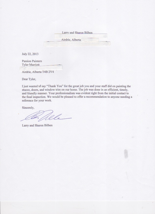 Reference Letters for Passion Painters Professional Interior - thank you letters for references and recommendations
