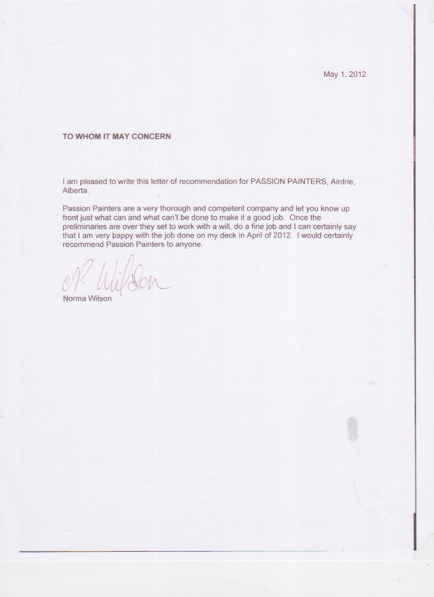 Reference Letters for Passion Painters Professional Interior