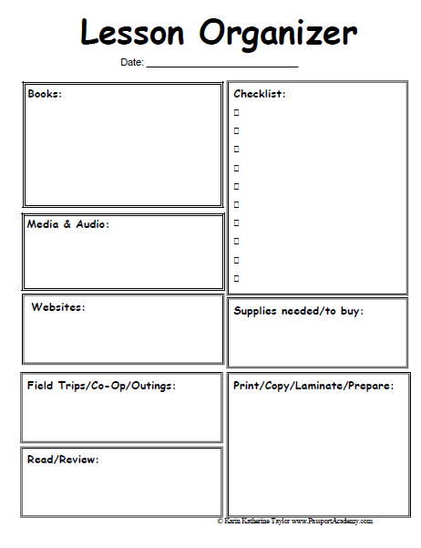 lesson plan sheets