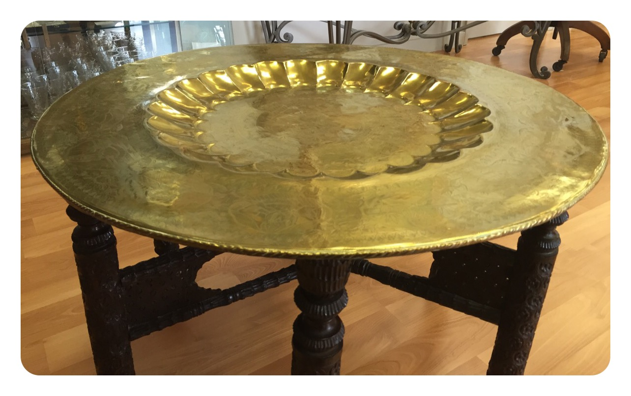 Moroccan Brass Tray Table Carved Wood Base Sold Past