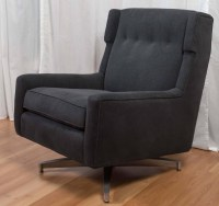 Plush Mid-Century Modern Upholstered Swivel Lounge Chair ...