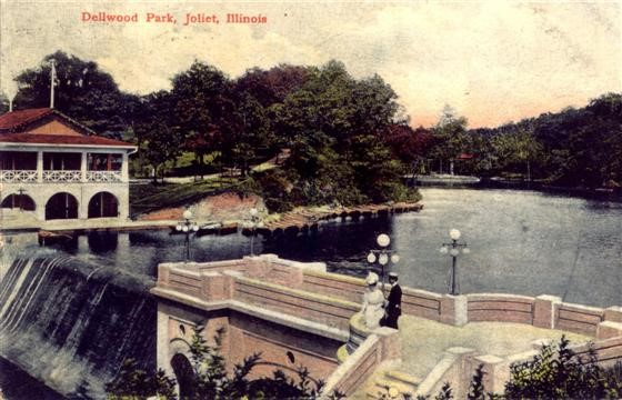Postcard of Dellwood Park, ca 1901, colorized. Presently this area is part of Lockport, not Joliet. Ruins of the stairs and dam remain. Photo courtesy of Lemont Area Historical Society.